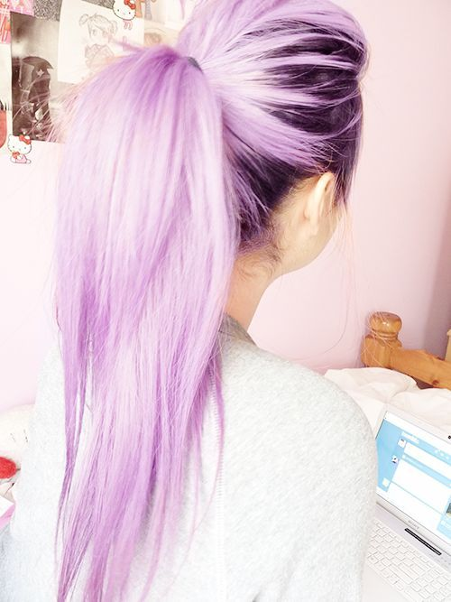 Blue Pastels Hair - Ponytail Hairstyle with Long Hair