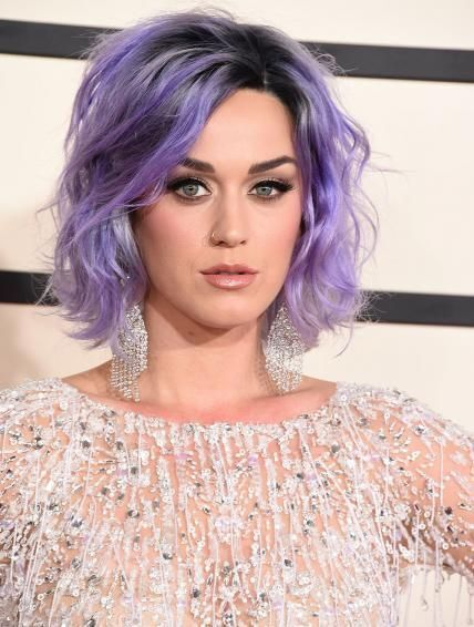 Katy Perry Purple Short Hair - Messy Hairstyles