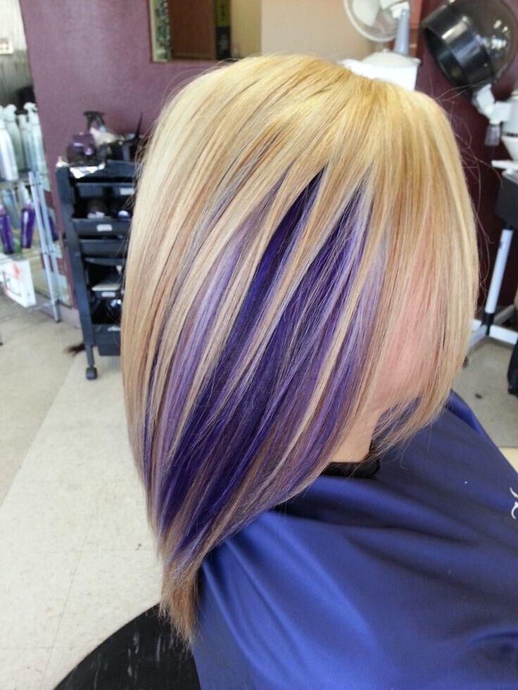 Purple Hair Highlights - Straight Medium Hairstyles