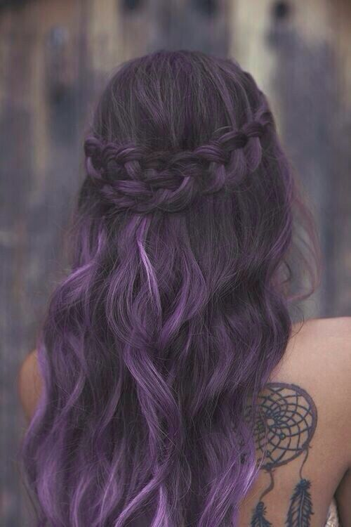 Hairstyles Purple : Purple Hairstyles  Long Hair with Braid / Via