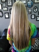 Highlights, Block Color Lowlights:Long Straight Haircut with Layer