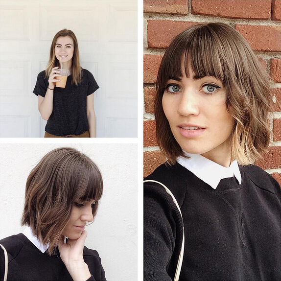 Babe A Blunt Bob with Fringe - Short Wavy Haircut Ideas