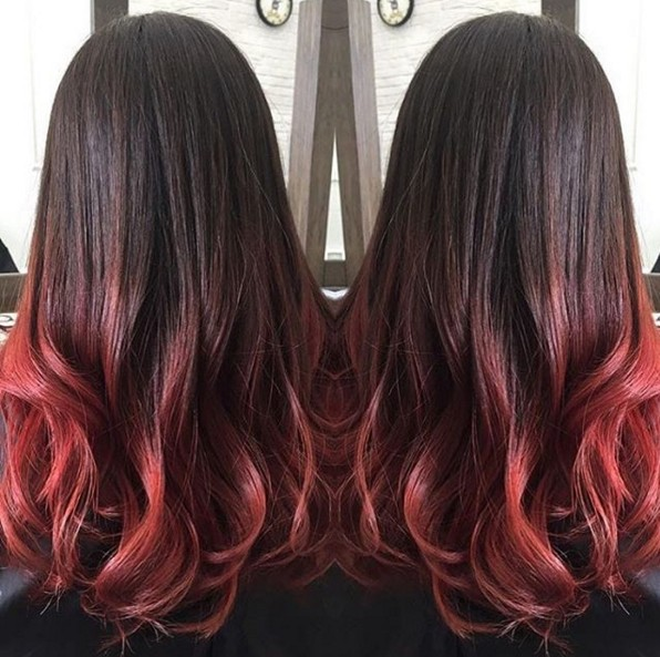 Black to Red - Wavy Hairstyles