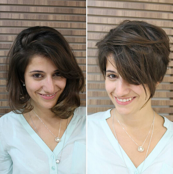 Brown Short Haircut With Side Long Bangs Cute Hairstyles 2016
