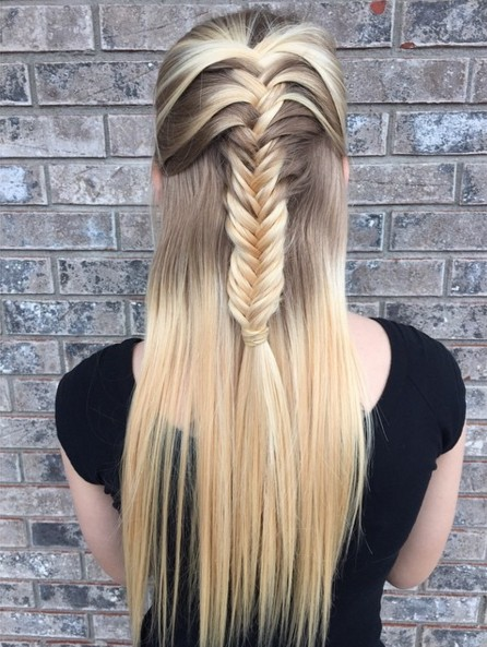 Half Up Hairstyles with Fishtail Braid - Long Hairstyle Ideas