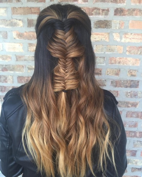 Half-Up Half-Down Hairstyles with Fishtail Braid