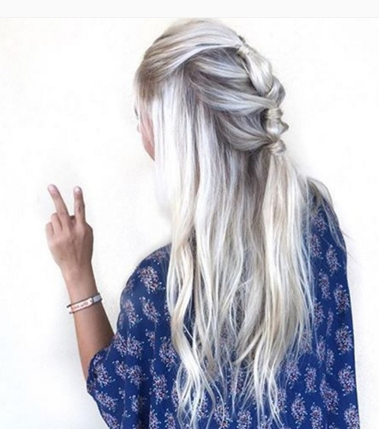 Ice Blonde Color and Knotted Hairstyle