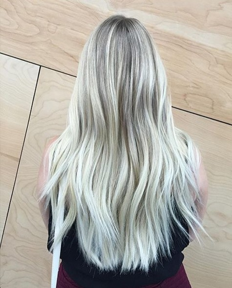 Layered Long Hairstyle - Light to White Blonde