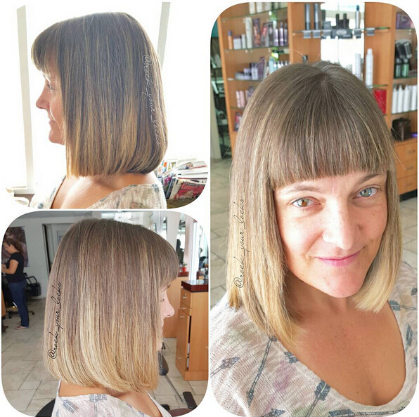 Long Bob with Blunt Bangs - Women Haircut Ideas