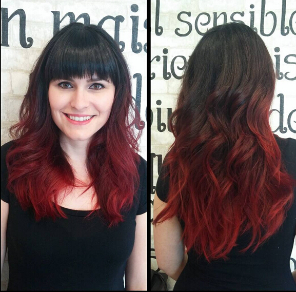 Medium Long Hairstyle For Blunt Bangs Rich Blood Red Ombre With Black Hair Popular Haircuts