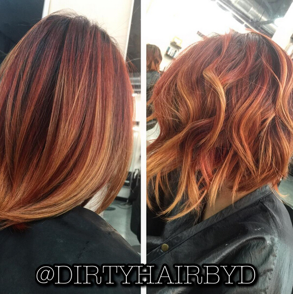 Messy, Layered Short Hairstyle - Beautiful Fire Smoking Color