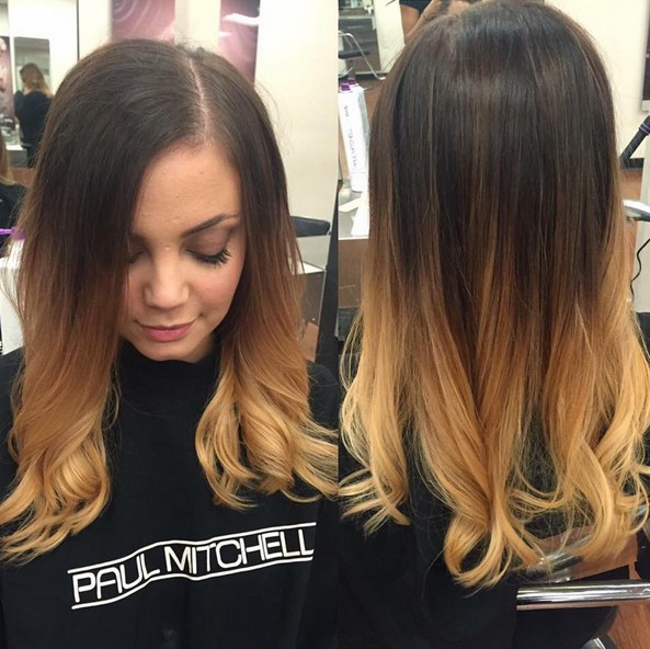 Ombre Medium Hairstyle - Brown, Blonde