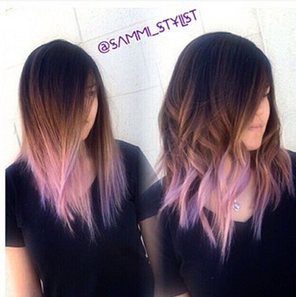 Ombre Medium Length Hairstyles - Lob Cut