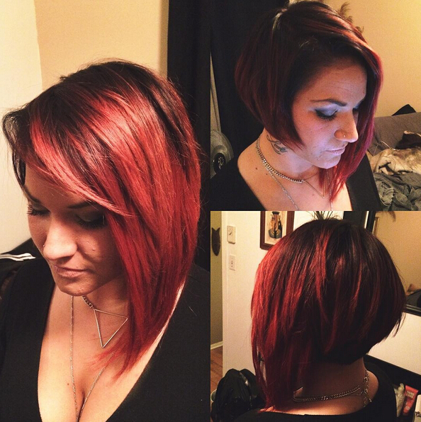 Red, Asymmetric Bob Cut