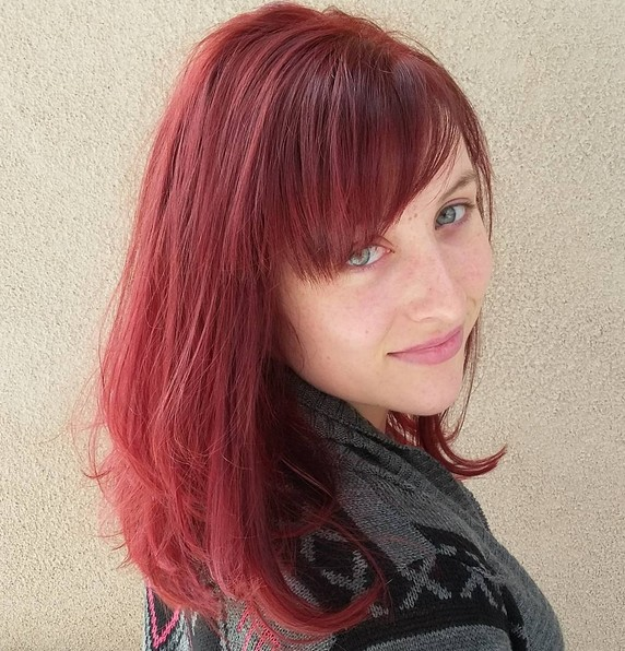 Red Medium Hairstyle with Side Bangs