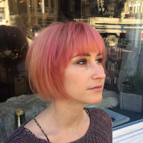 Short Pink Bob Hairstyles With Bangs Cute Haircuts 2016