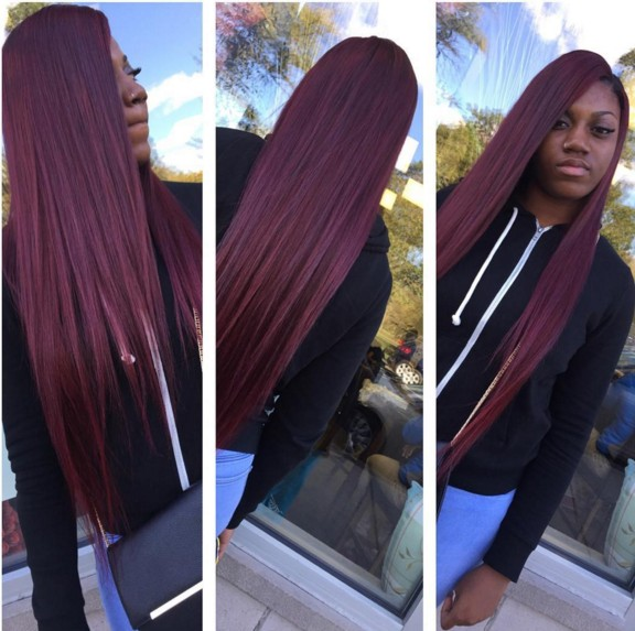 Straight Long Hairstyle with Red Hair