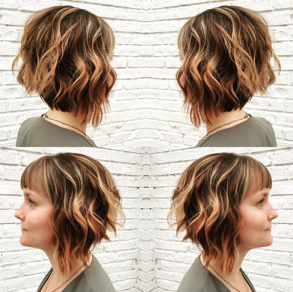 Angled Bob Hairstyle with Bangs - Short, Layered Wavy Haircuts