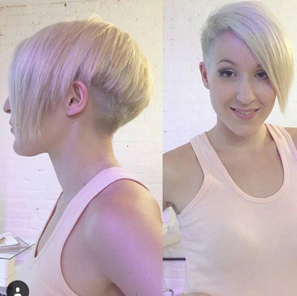 Asymmetrical Pixie Hairstyle with Side Long Bangs - Short Straight Haircut