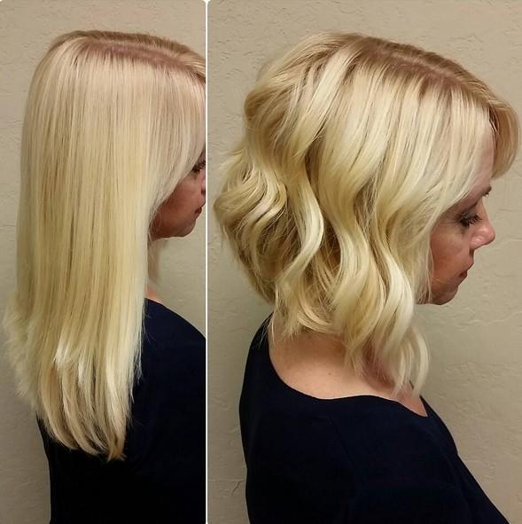 Blonde Angled Bob Haircuts with Wavy Hair