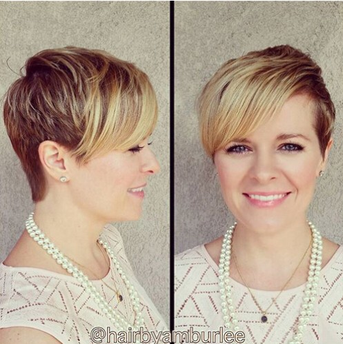 Layered Short Hairstyle With Side Long Bangs Women Short Haircut