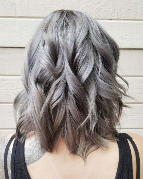 Layered, Wavy Hairstyle with Grey Hair Color