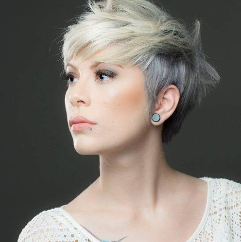 Messy Pixie Haircut with Side Bangs - Short Haircut Color Ideas