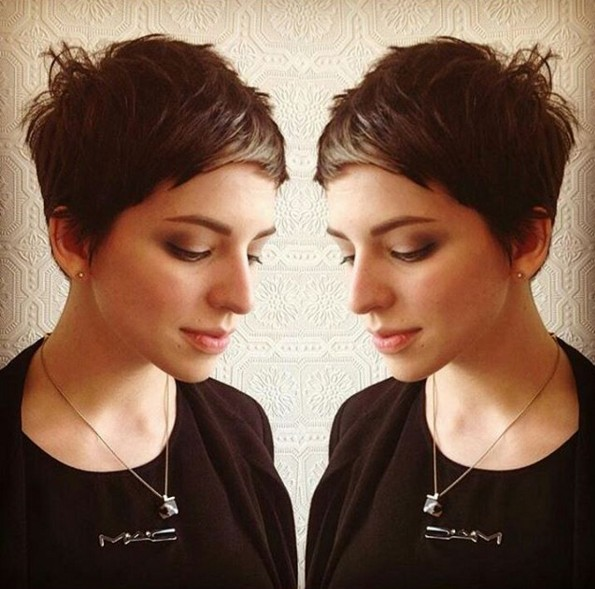 Messy, Very Short Haircut with Side Bangs