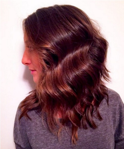 Red, Wavy Hairstyle