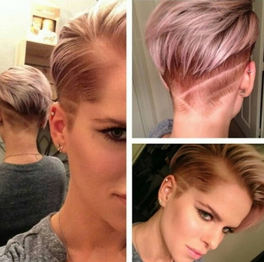 Female short haircut shaved hesd