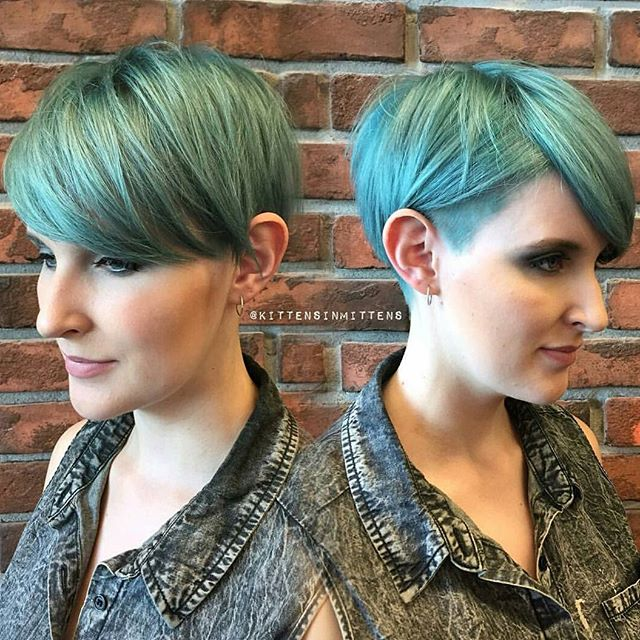 colorful hair -sahved pixie cut -greeen hair color ideas - short pixie hairstyle with bangs