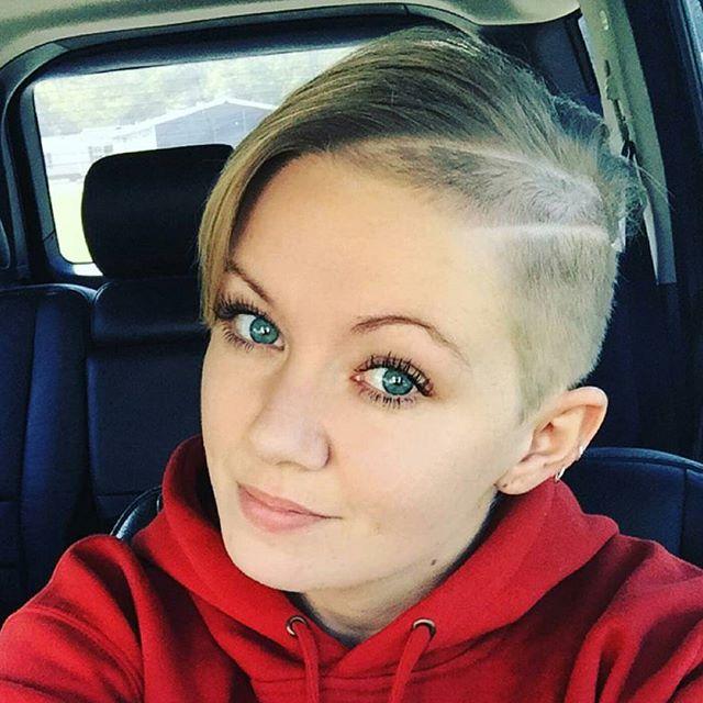 cool short haircut for women - half shaved pixie cut