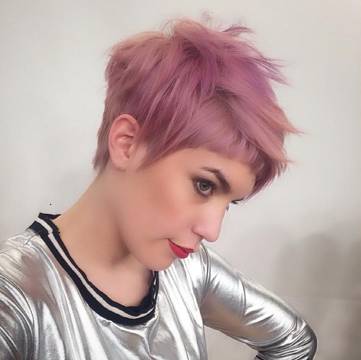undercut haircut - short pink pixie hairstyle