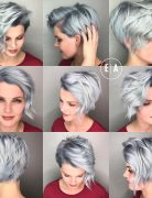 Blue Pixie Cut with Long Fringe Layered Short Hairstyle