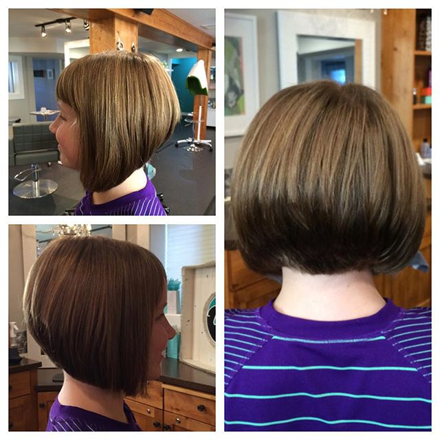 Cute short Stacked Bob Hairstyle with bangs for girls
