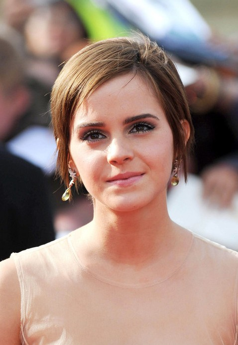 Emma Watson Short Pixie Haircut with Bangs