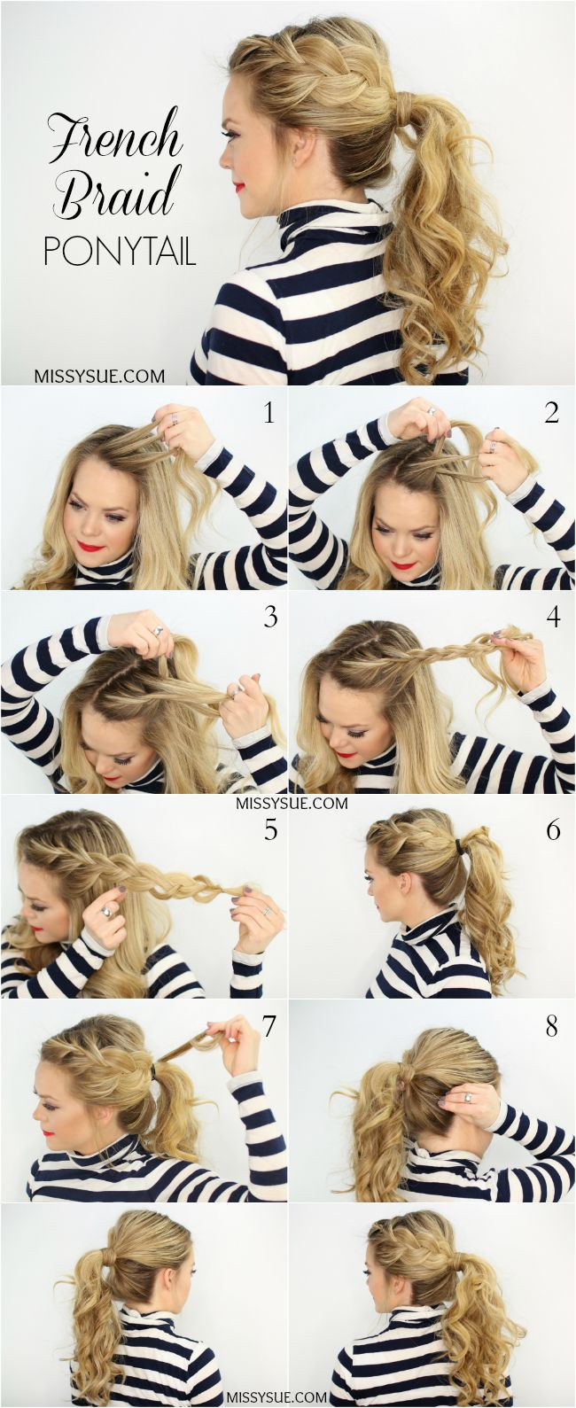 French Braid Ponytail Hairstyle Tutorial