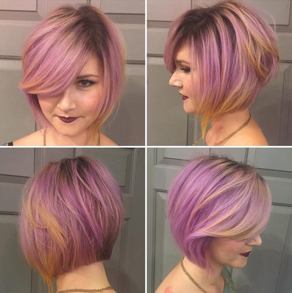 Fun Pink, Purplish, Yellow Hair Color with Bob Haircut
