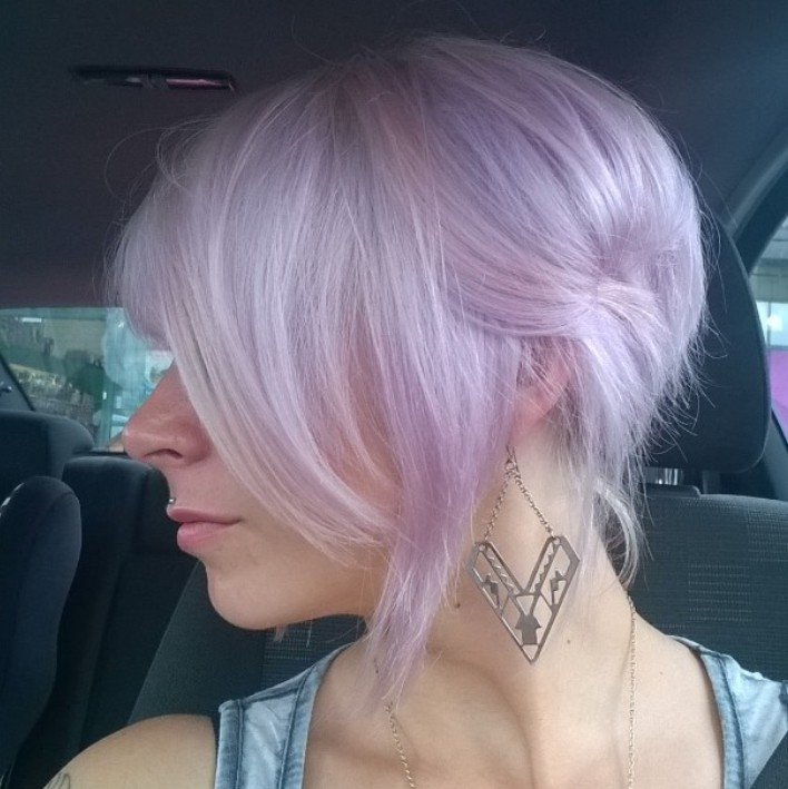 Pale Pastel purple hair for short hair