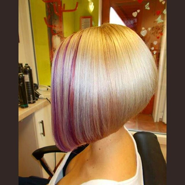 Pink highlighted blonde stacked Hairstyles