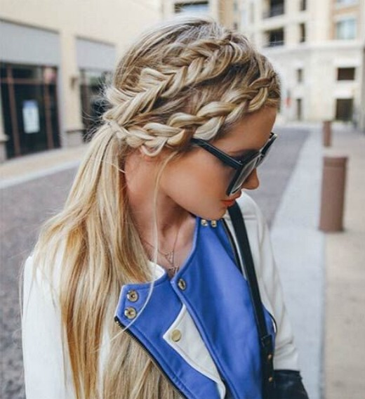 Ponytail Hairstyle with Loose Braid - Summer Hairstyles for Long Hair