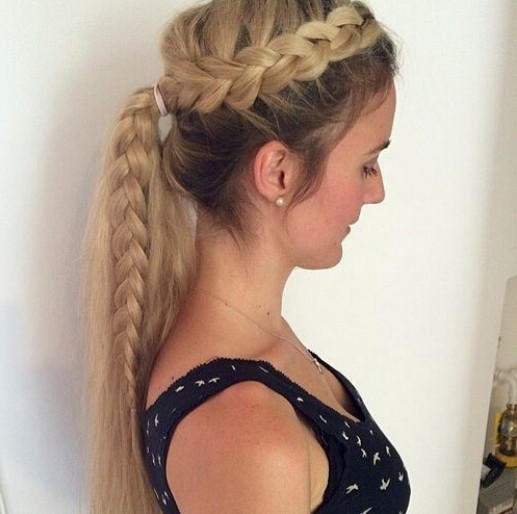 Ponytail Hairstyle with Side Braid