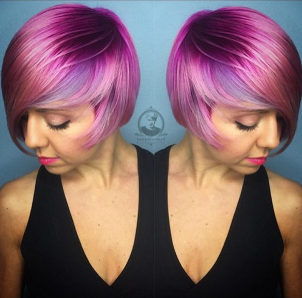 Purple and Lilac Hair Color and Beautiful Short Hairstyle Design