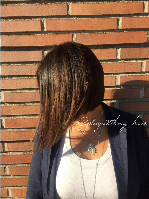 Side view of Aline long bob hairstyle