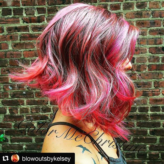 Side view of red wavy bob hairstyle