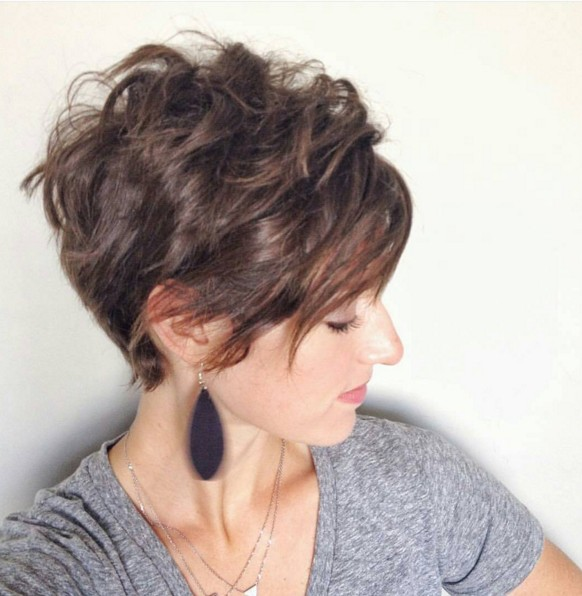 Stylish Wavy & Curly Pixie Hairstyle