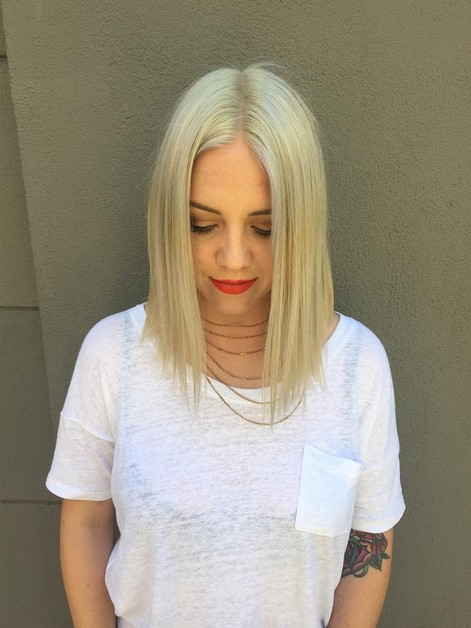 ashy blonde and an a-line bob