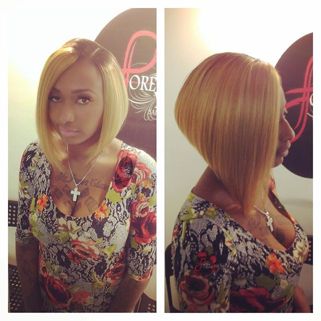blonde A-line bob hairstyle for black women