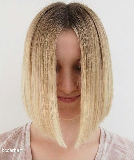 brunette to blonde ombre A-line lob hairstyle