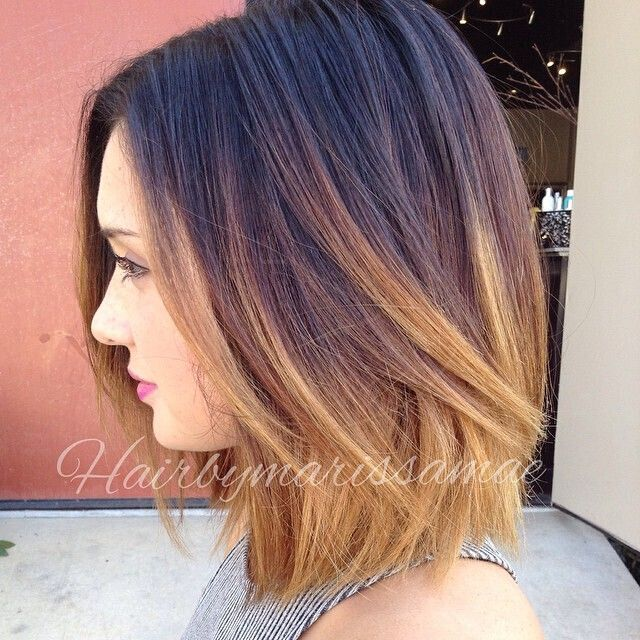 Ombre Hair Brown To Caramel To Blonde Medium Length 23 Cute Bob Hai...